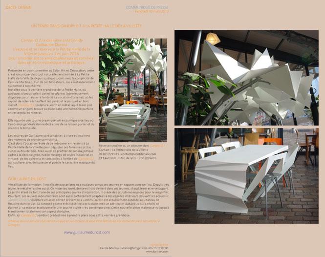 communiqué de presse canopy 0.1 à la petite Halle